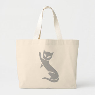 Gato gris elegante bolsa tela grande