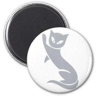 Gato gris elegante imán redondo 5 cm