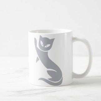 Gato gris elegante taza