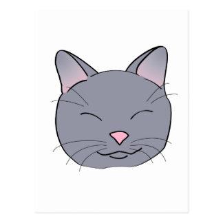 Gato gris feliz postal