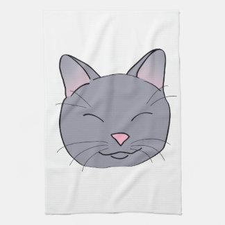 Gato gris feliz toallas de cocina