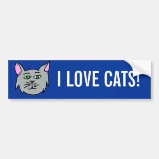¡Gato gris - gatos del amor de I! Pegatina Para Auto