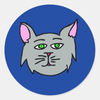 ¡Gato gris - gatos del amor de I! Pegatina Redonda