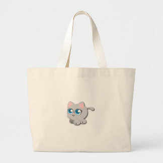Gato gris/gris con los ojos azules grandes y las bolsas de mano
