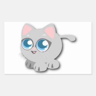 Gato gris/gris con los ojos azules grandes y las pegatina rectangular