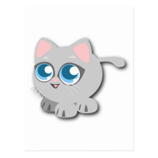 Gato gris/gris con los ojos azules grandes y las tarjeta postal