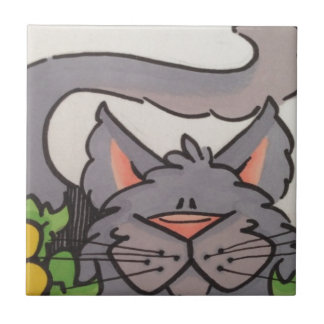 Gato gris lindo azulejo cuadrado pequeño