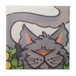 Gato gris lindo azulejos