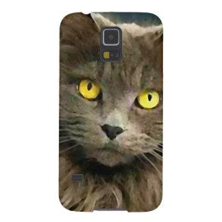 Gato gris lindo con los ojos de oro carcasa galaxy s5