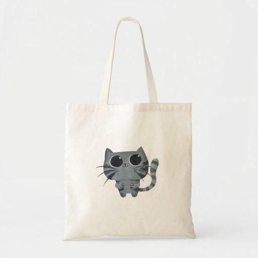 Gato gris lindo con los ojos morados grandes bolsas de mano