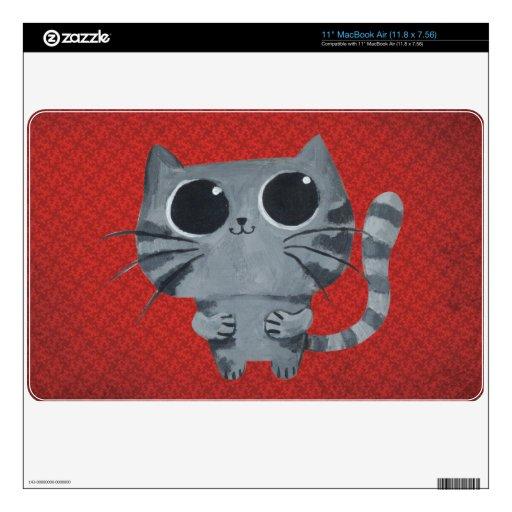 Gato gris lindo con los ojos morados grandes MacBook air 27,9cm skin