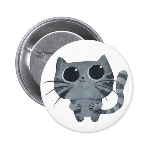 Gato gris lindo con los ojos morados grandes pins