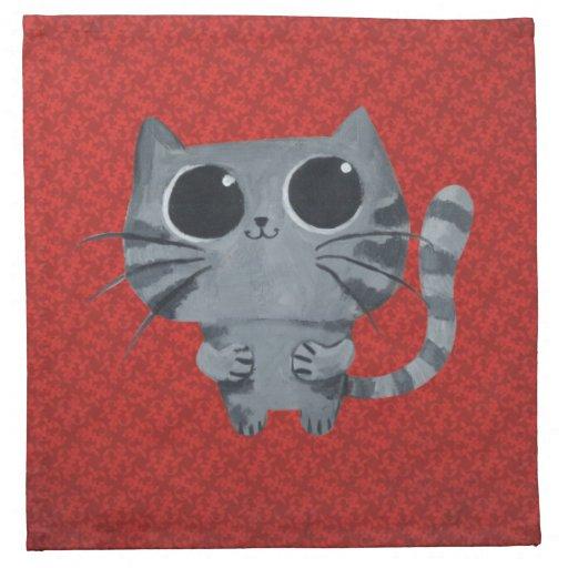 Gato gris lindo con los ojos morados grandes servilletas imprimidas