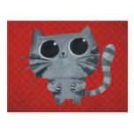 Gato gris lindo con los ojos morados grandes postal