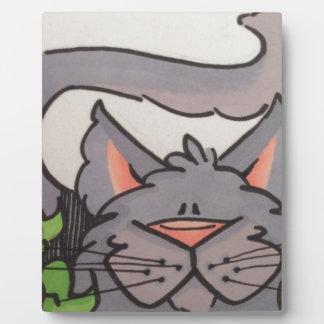 Gato gris lindo placas de plastico