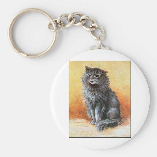 Gato gris llavero personalizado