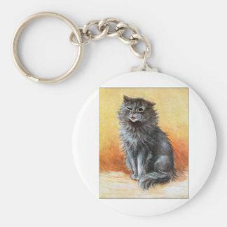 Gato gris llavero redondo tipo pin