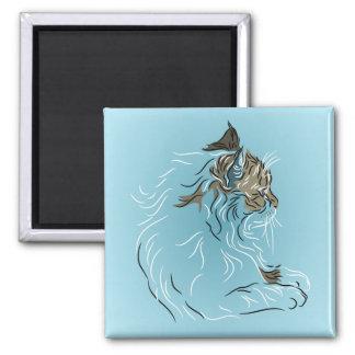 Gato gris mullido en fondo azul imán cuadrado