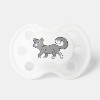 Gato gris que camina chupete de bebé
