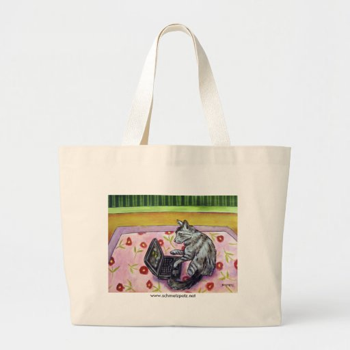 Gato gris que trabaja de hogar bolsa tela grande