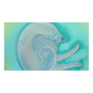 Gato gris soñoliento tarjetas de visita