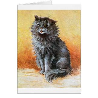 Gato gris tarjeta de felicitación
