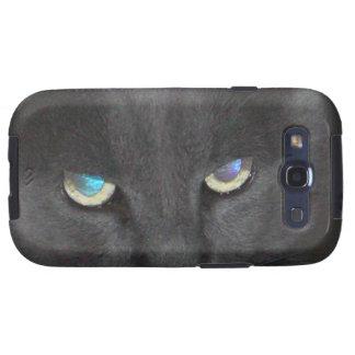 Gato gris único del gatito con los ojos coloreados galaxy SIII funda