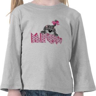 Gato gris y maullido rosado camisetas