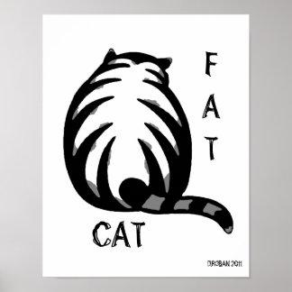 Gato-Gris y negro gordos Póster