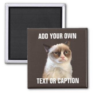 Gato gruñón - añada su propio texto imán cuadrado