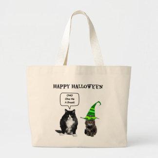 Gato gruñón de Halloween/las bolsas de asas lindas