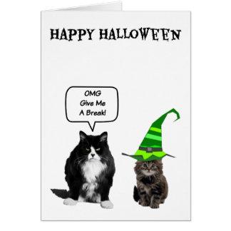 Gato gruñón de Halloween y tarjetas lindas del