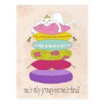 Gato gruñón de la princesa y los dibujos animados postal