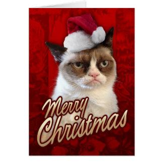 Gato gruñón de las Felices Navidad Tarjeton