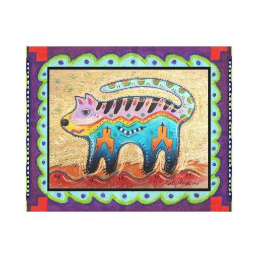 Gato gruñón del arte popular del sudoeste