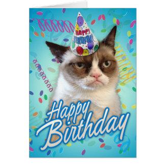 Gato gruñón del feliz cumpleaños tarjeta de felicitación