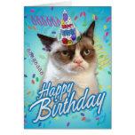 Gato gruñón del feliz cumpleaños tarjetón
