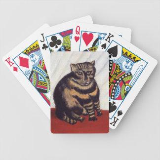 Gato gruñón del vintage baraja de cartas