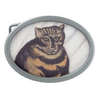 Gato gruñón del vintage hebillas cinturón ovales