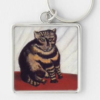 Gato gruñón del vintage llavero cuadrado plateado