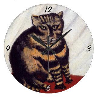 Gato gruñón del vintage reloj redondo grande