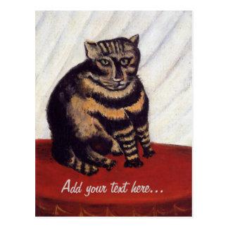 Gato gruñón del vintage postales