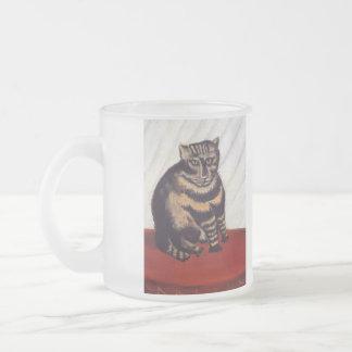 Gato gruñón del vintage taza cristal mate