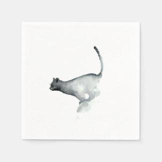Gato gruñón gris de las servilletas del Libro Blan