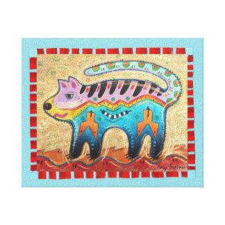 Gato gruñón lienzo envuelto para galerías