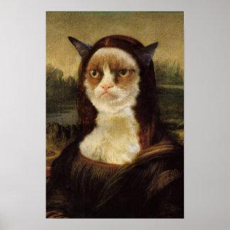 Gato gruñón Mona Lisa Póster