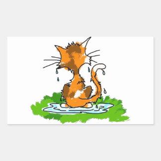 Gato gruñón rectangular pegatinas