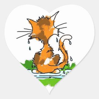 Gato gruñón pegatinas corazon personalizadas