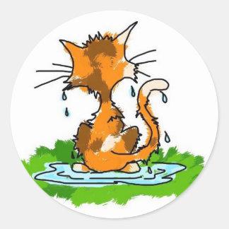 Gato gruñón pegatina redonda
