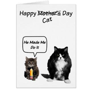 Gato gruñón/tarjetas lindas del día de madre del tarjeta pequeña